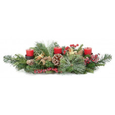 Premier Decorations 60cm Natural 3 Candle Christmas Centre Piece - Green