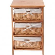 3 Basket Wooden Storage Unit - Brown (Slight Chip Front Right Corner)